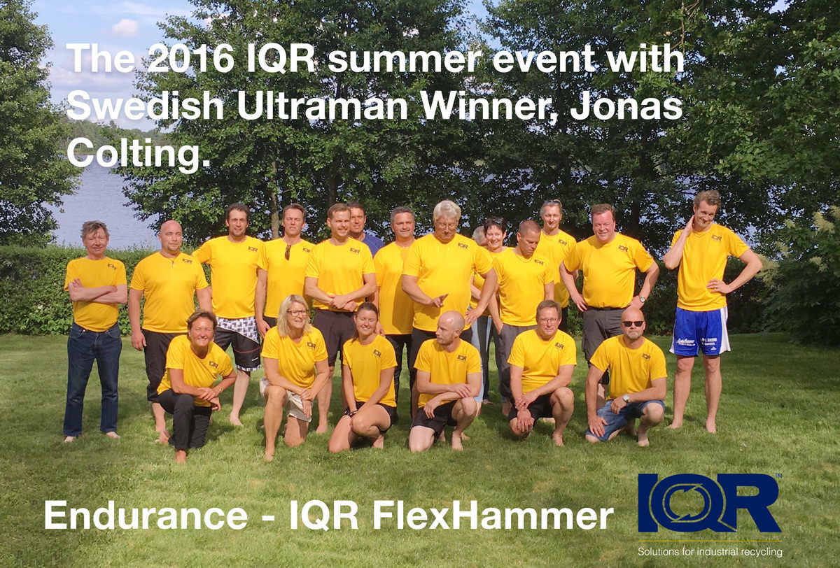 The IQR staff with Swedish ultraman winner Jonas Colting.
