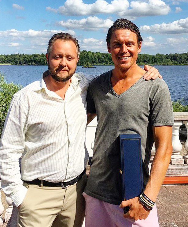 CEO Daniel Karlström with Swedish ultraman winner Jonas Colting.